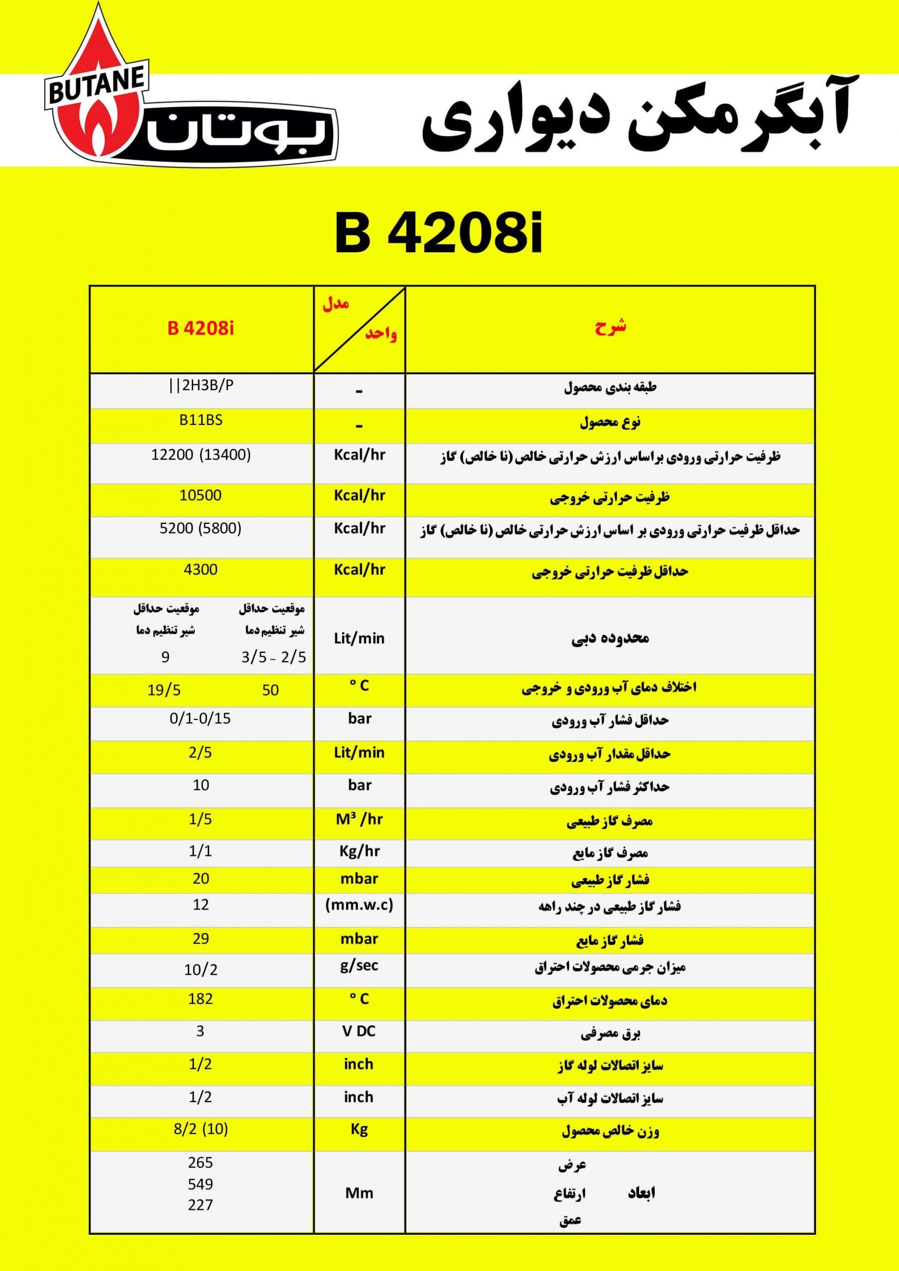آبگرمکن دیواری بوتان مدل B4208