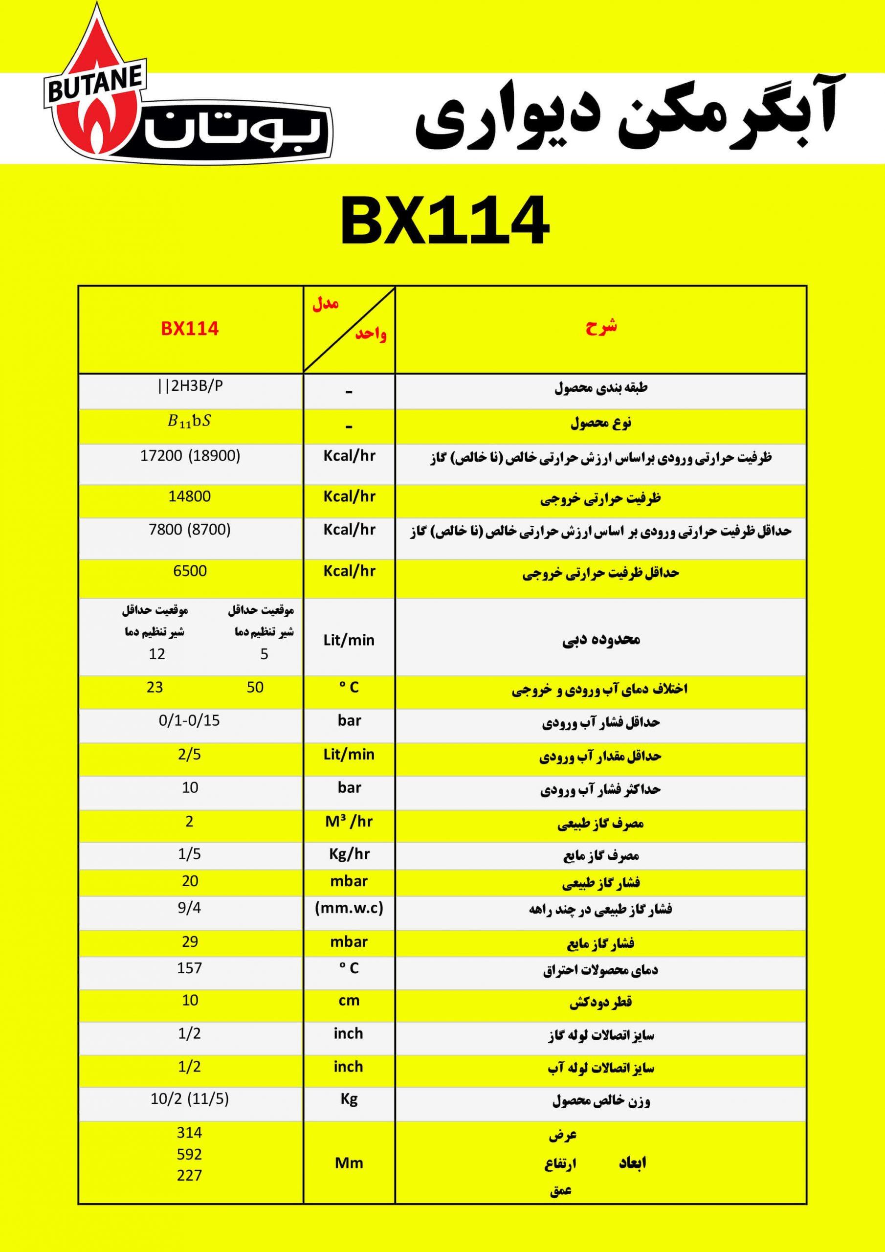 آبگرمکن دیواری بوتان مدل BX114