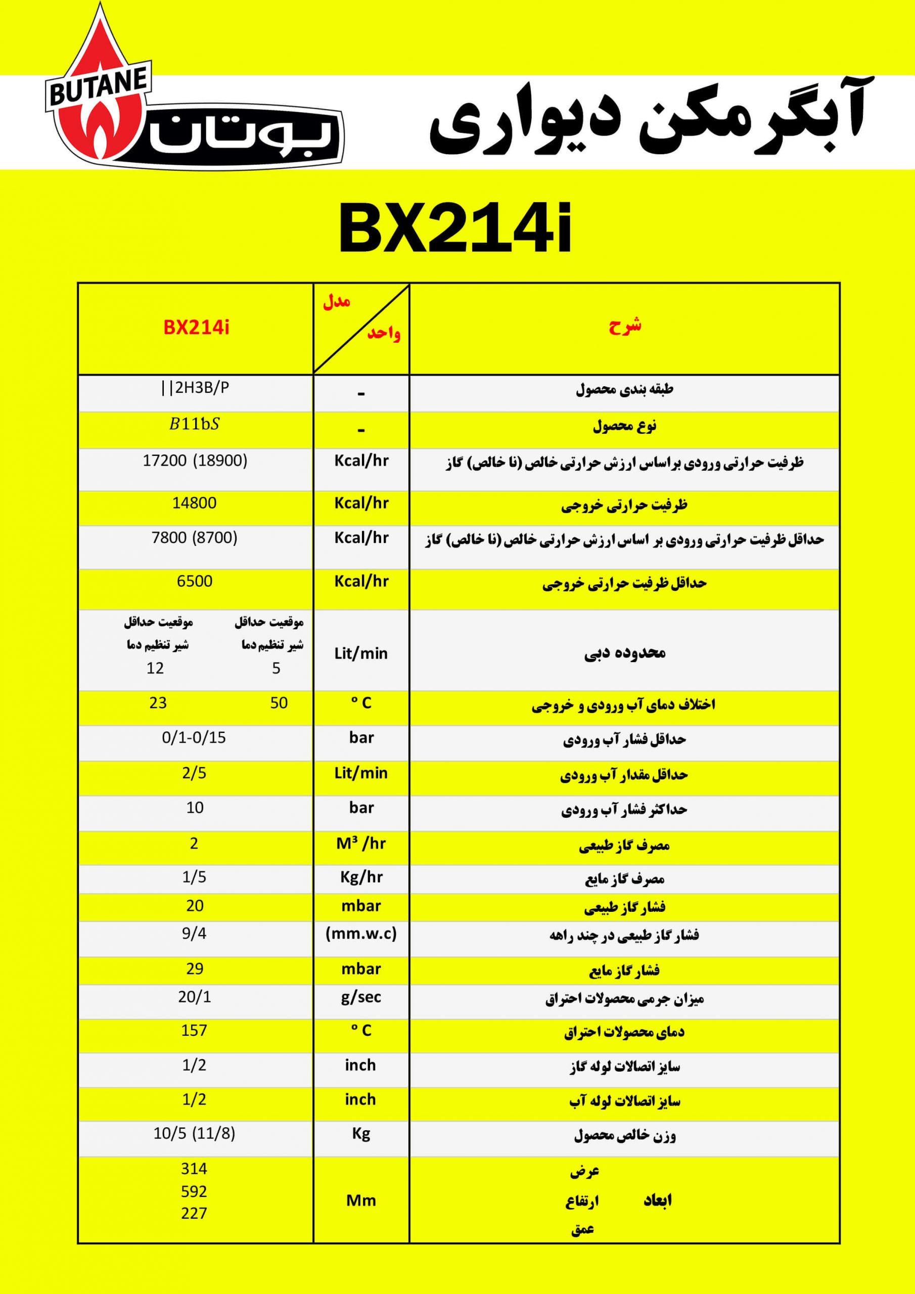 آبگرمکن دیواری بوتان مدل BX214